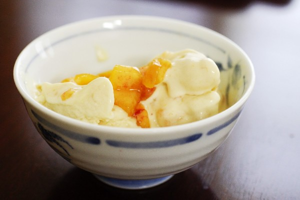 Ice cream with honey poached apricots
