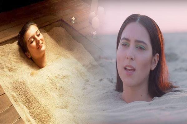 burying in the warm sand or mud bath