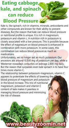 Eating cabbage, kale, and spinach can reduce Blood Pressure