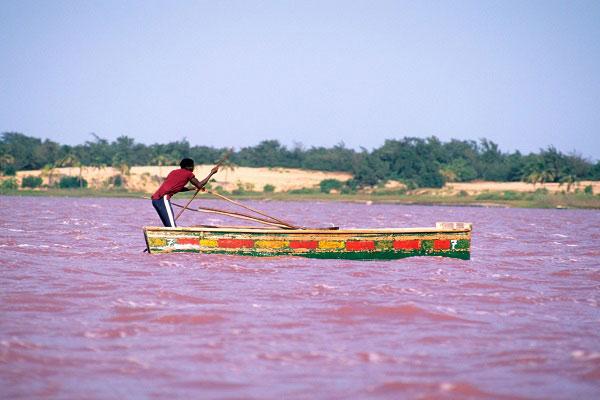 Lake Retba in Cap Vert, Senegal