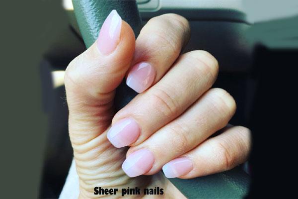 Sheer pink nails