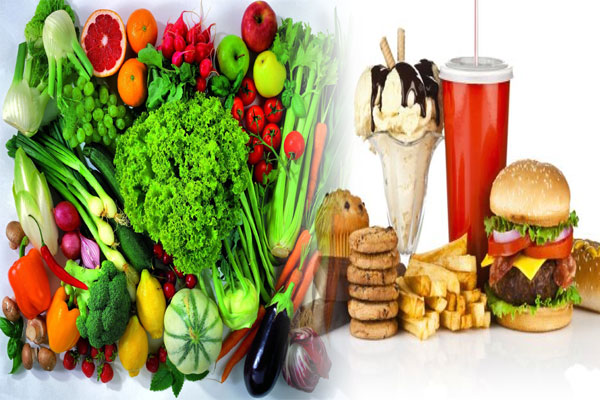 healthy foods and unhealthy